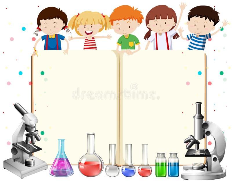 Enfants et équipements de la science illustration de vecteur