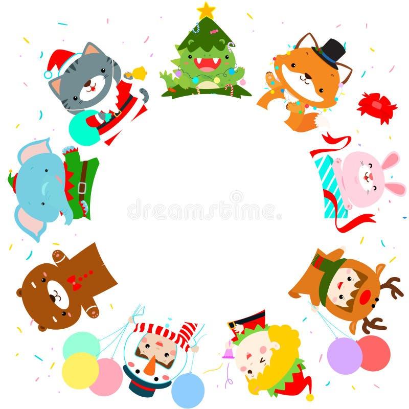 Enfants et animal mignons dans le vecteur de fond de costumes de Noël illustration de vecteur
