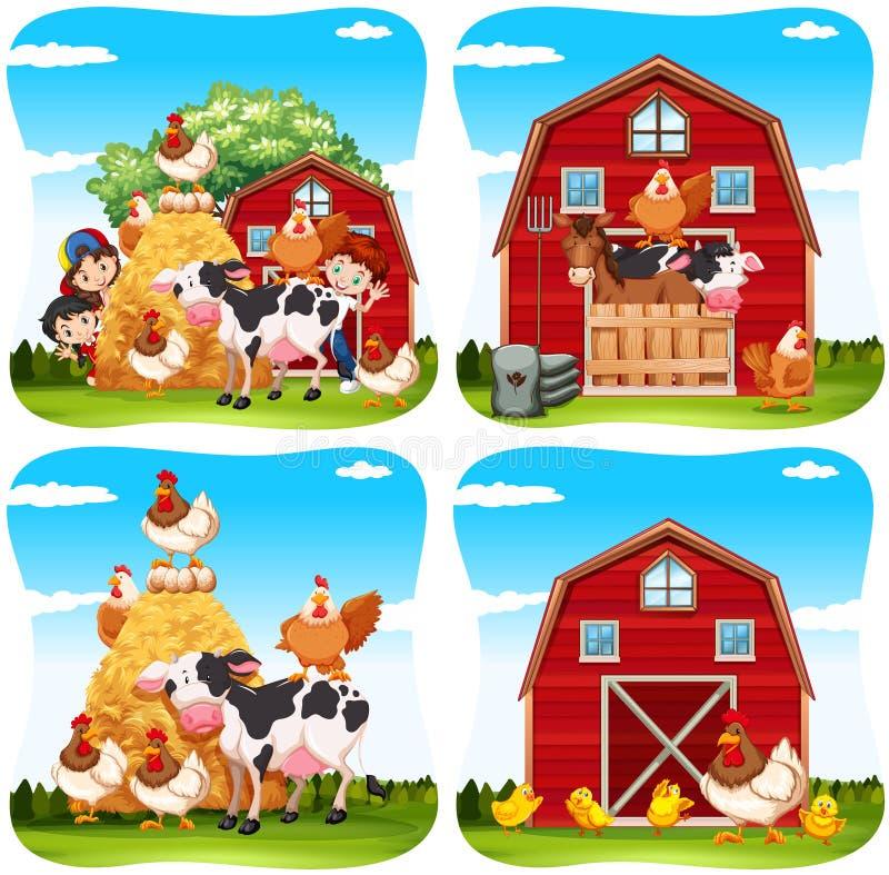Enfants et animaux de ferme à la ferme illustration stock