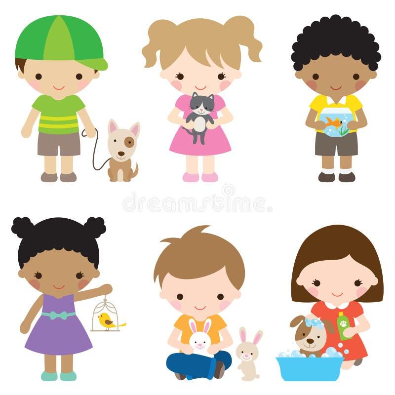 Enfants et animaux familiers illustration de vecteur