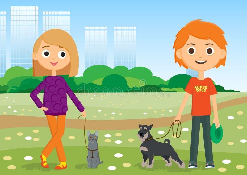 Enfants et animaux familiers E illustration stock