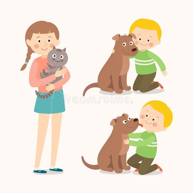 Enfants et animaux familiers L'enfant embrasse affectueusement son chien Petit chien léchant la joue du ` s de garçon Adolescente illustration libre de droits