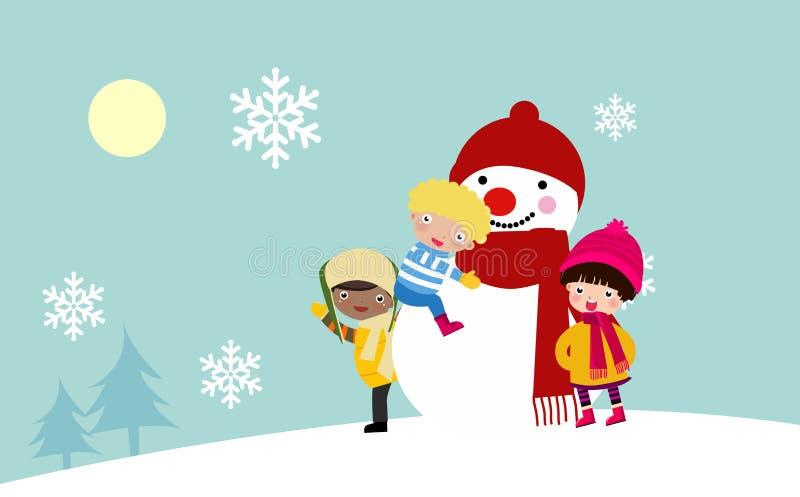 Enfants et bonhomme de neige illustration de vecteur