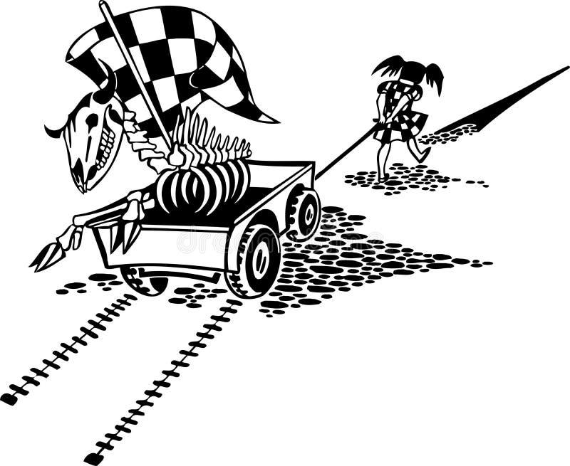 Enfants et chariot. Illustration de vecteur. illustration stock