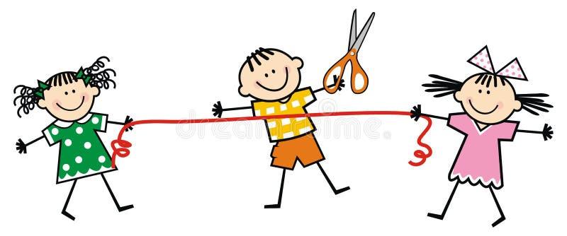 Enfants et ciseaux et ruban heureux, illustration drôle de vecteur illustration stock