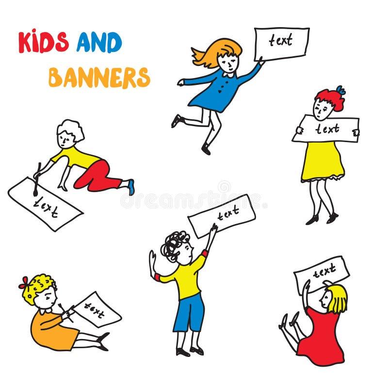 Enfants et croquis de bannières réglés illustration stock