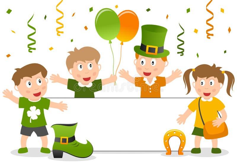 Enfants et drapeau de St Patrick s illustration stock
