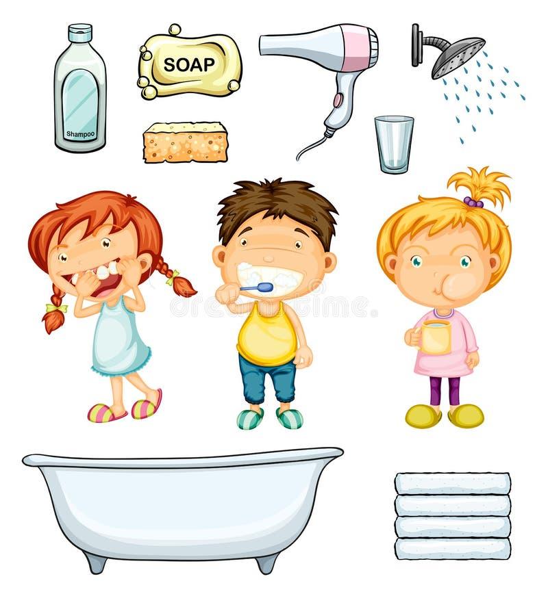 Enfants et ensemble de salle de bains illustration de vecteur