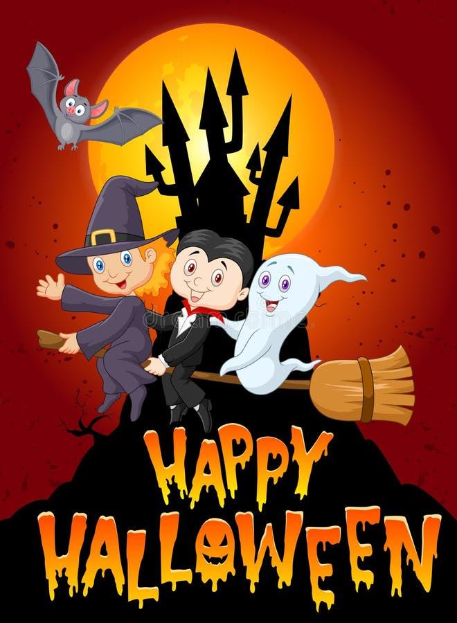 Enfants et fantôme de bande dessinée avec le fond de château et de lune illustration stock