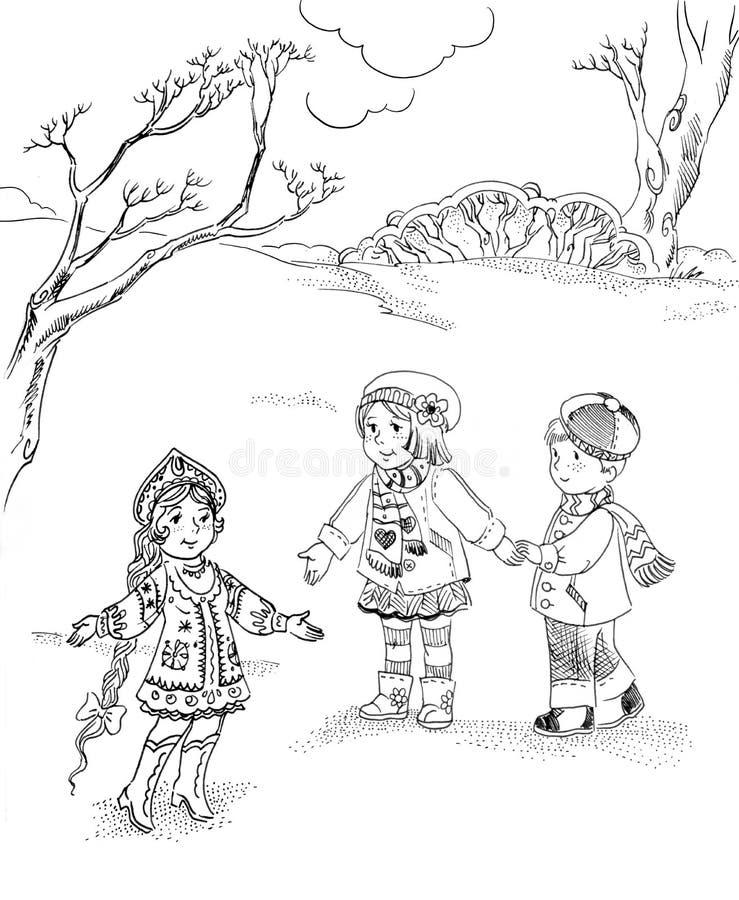 Enfants et fille de neige illustration stock