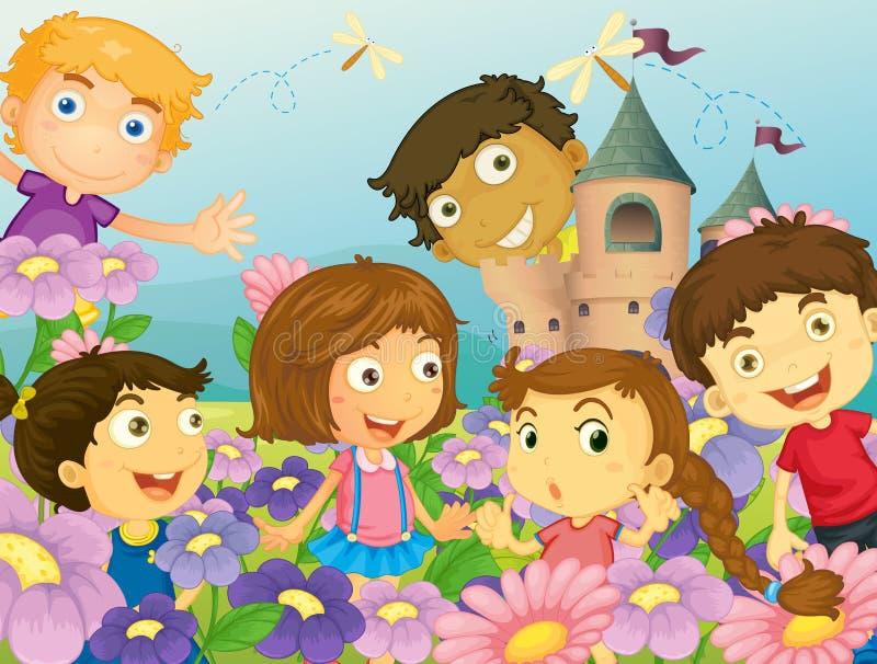 Enfants et fleurs illustration libre de droits