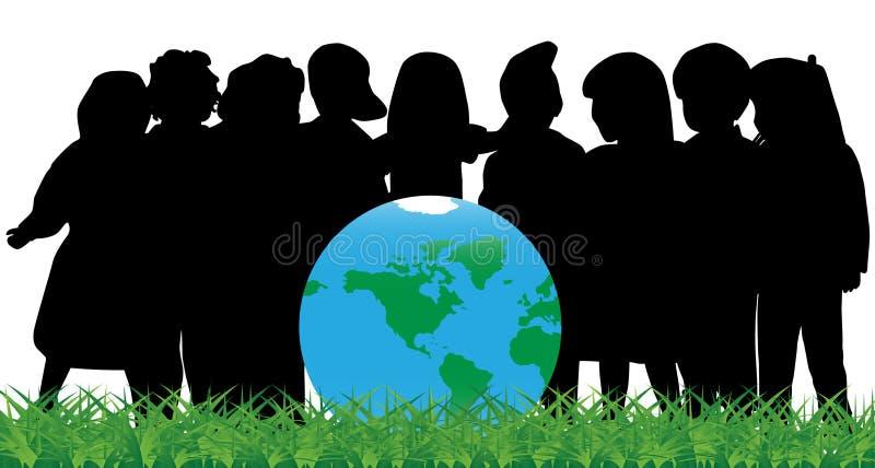 Enfants et globe illustration stock