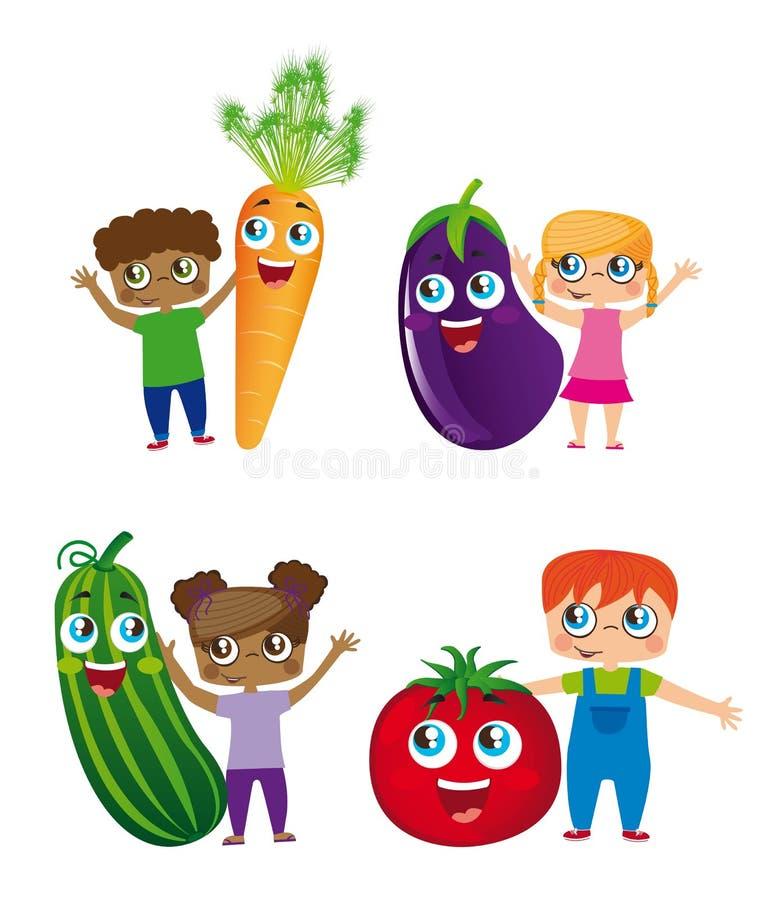 Enfants et légumes illustration stock
