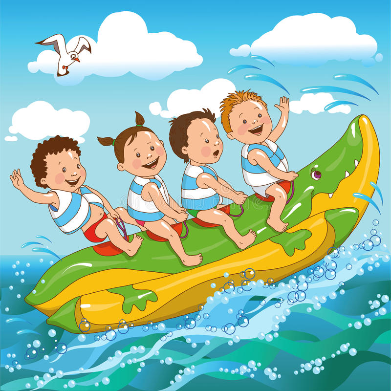 Enfants et la mer illustration stock