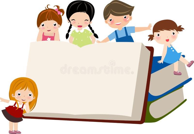 Enfants et livre illustration libre de droits
