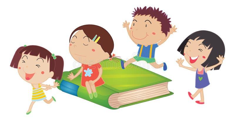Enfants et Livre vert géant illustration de vecteur