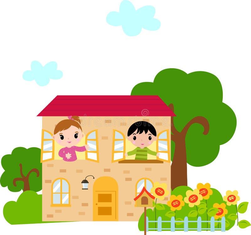 Enfants et maison illustration de vecteur