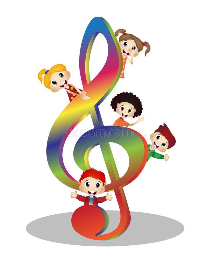 Enfants et musique de clef illustration libre de droits