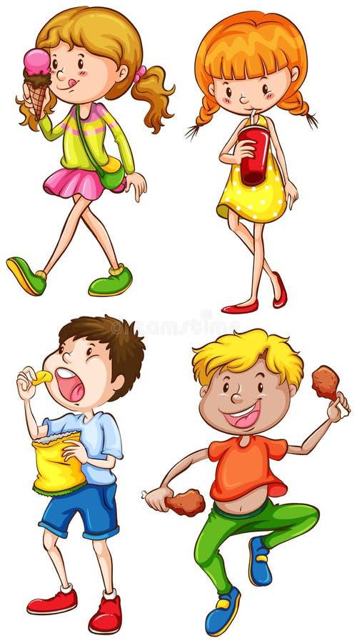 Enfants et nourriture illustration libre de droits