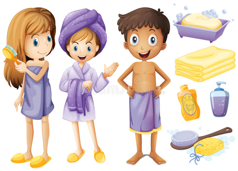 Enfants et objets de salle de bains illustration libre de droits