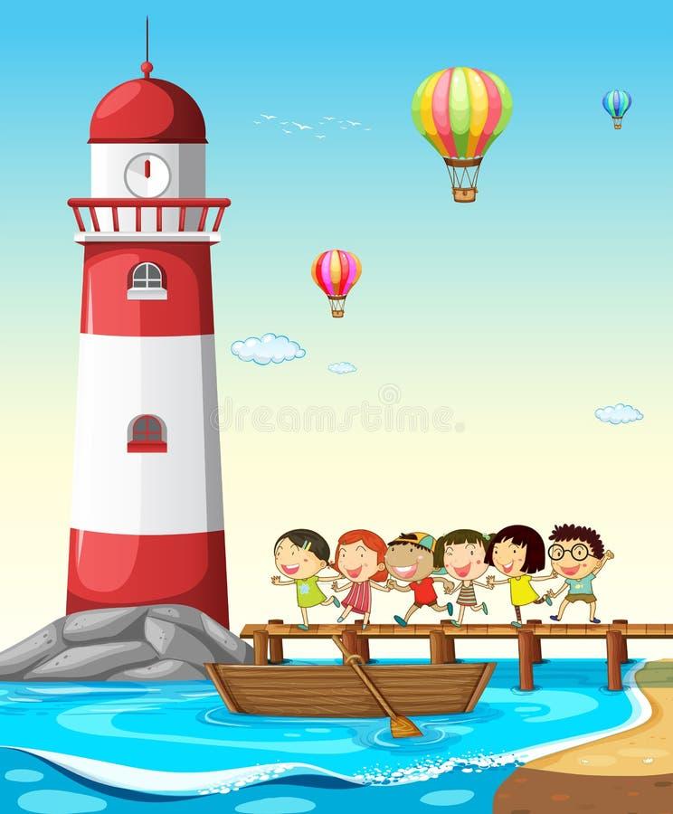 Enfants et phare illustration libre de droits