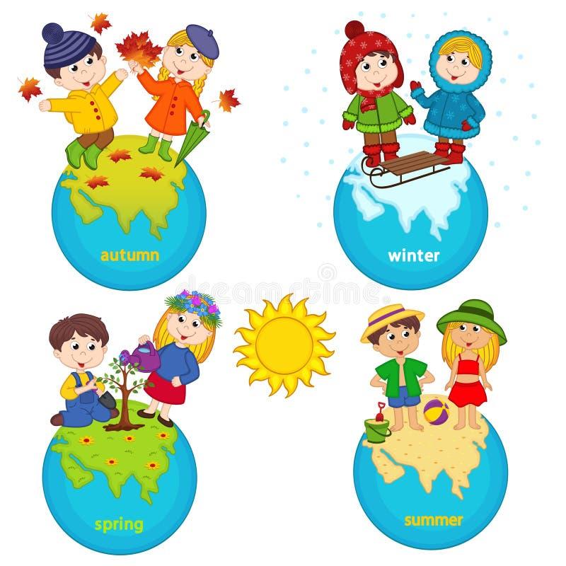 Enfants et quatre saisons sur la planète illustration stock