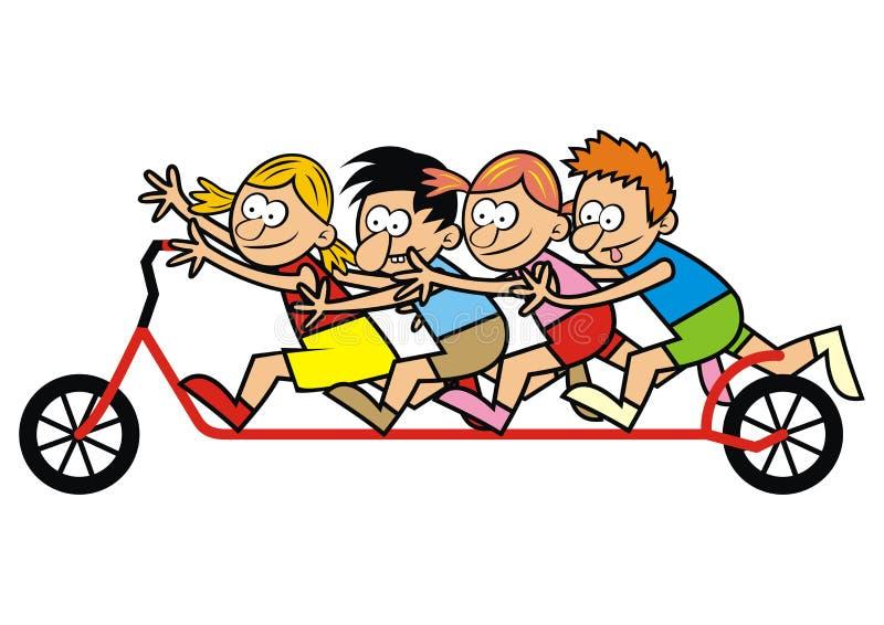 Enfants et scooter illustration de vecteur