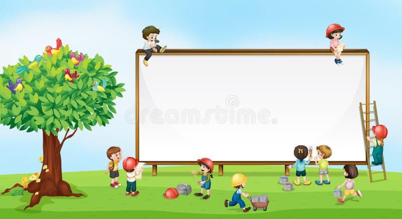 Enfants et signe illustration stock