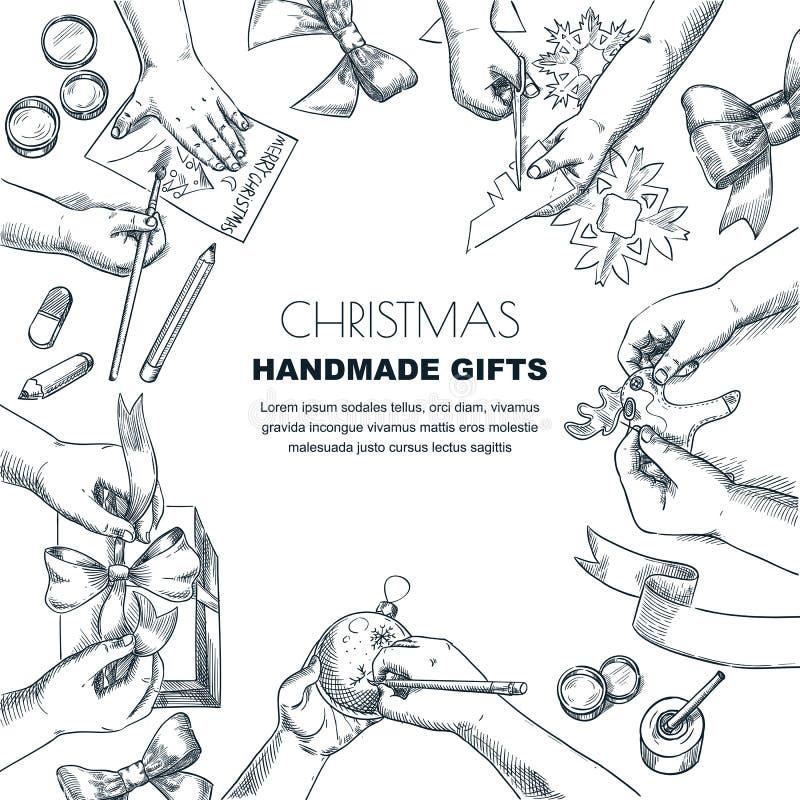Enfants faisant des cadeaux de Noël et de nouvelle année Illustration de croquis de vecteur Concept de métier et de créativité At illustration stock
