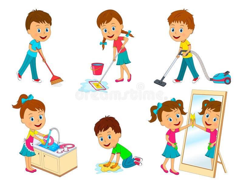 Enfants faisant des corvées illustration de vecteur