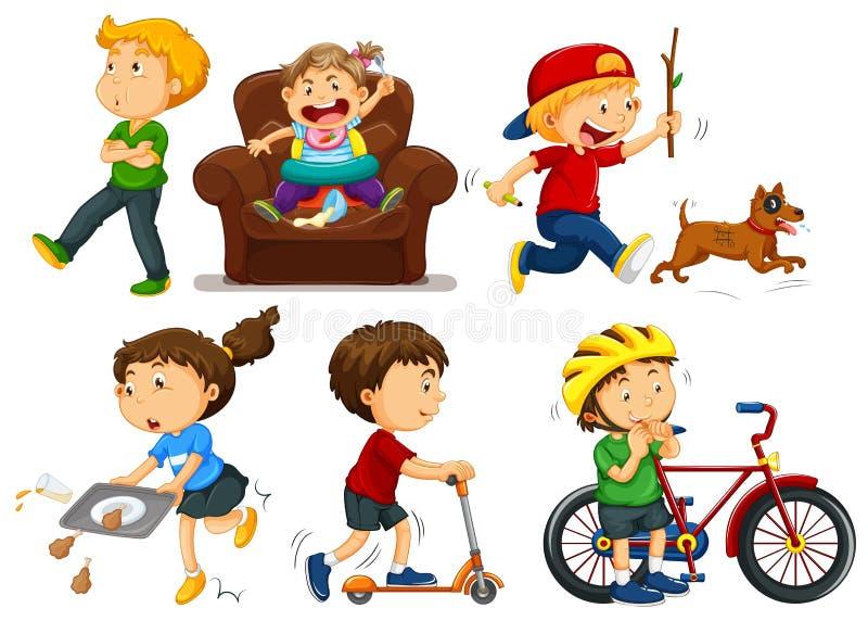 Enfants faisant différentes activités illustration stock