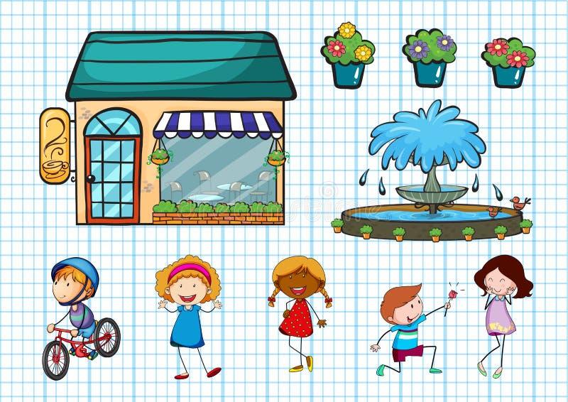 Enfants faisant différentes activités et café illustration libre de droits