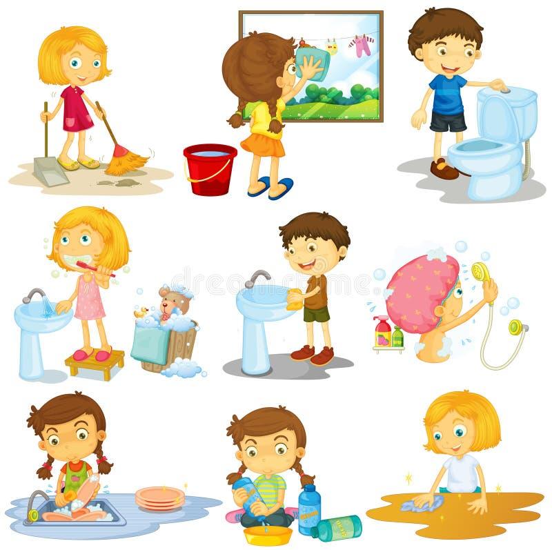 Enfants faisant différentes corvées illustration stock