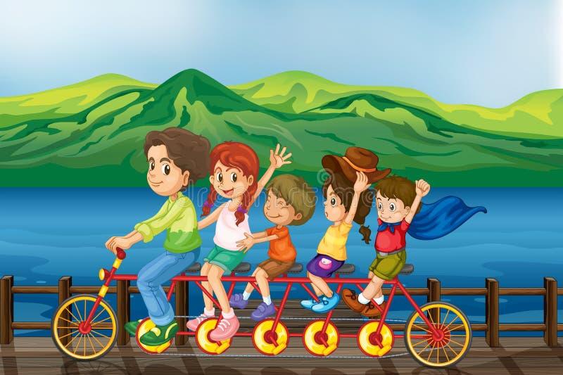 Enfants faisant du vélo au pont illustration stock