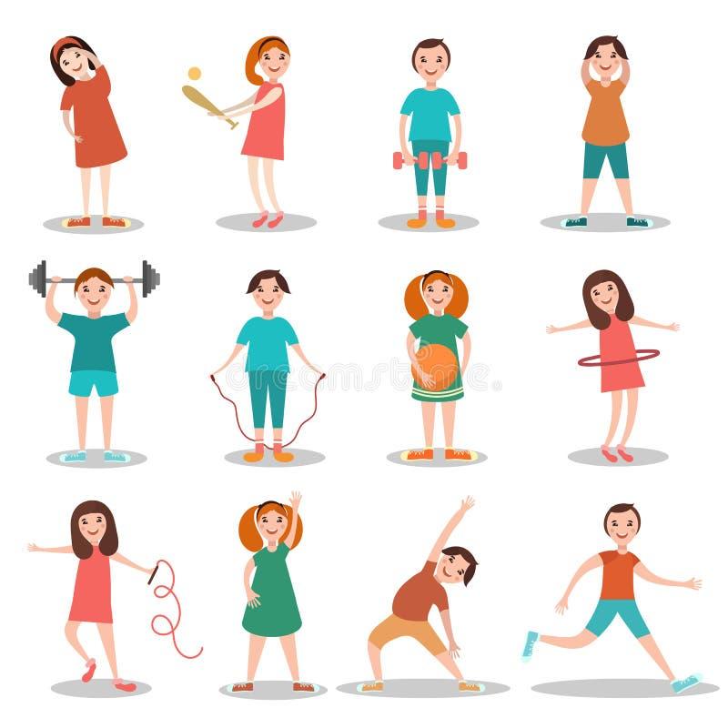 Enfants faisant l'illustration plate de vecteur de sports illustration stock
