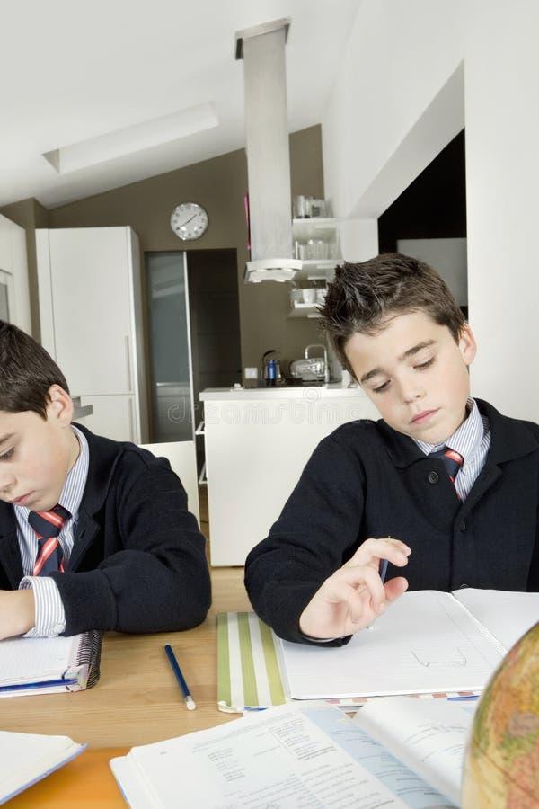 Enfants faisant le travail à la maison images stock