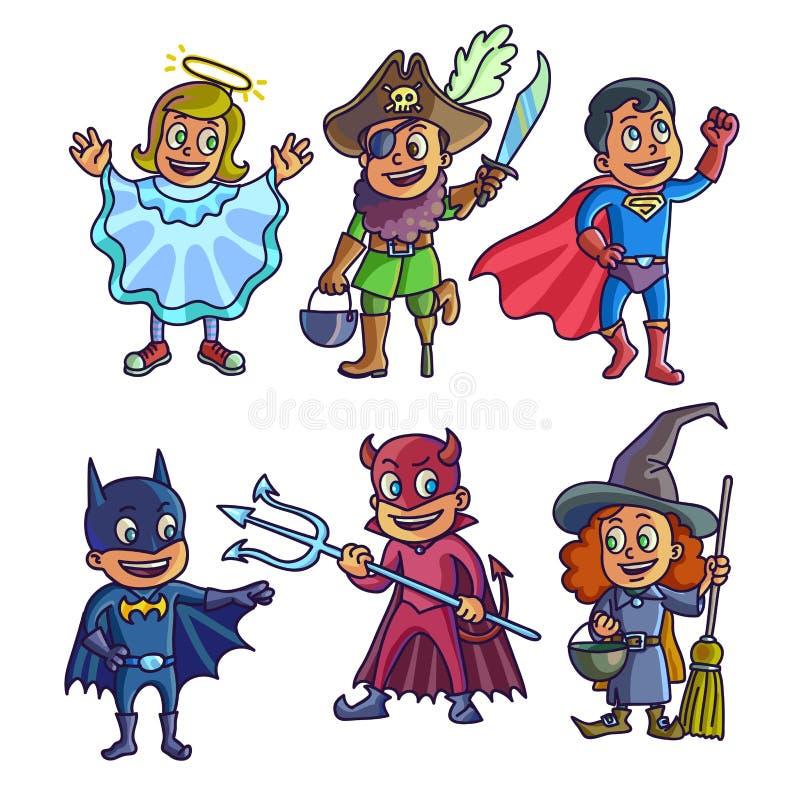 Enfants gais dans les illustrations créatives de costumes de Halloween réglées illustration libre de droits