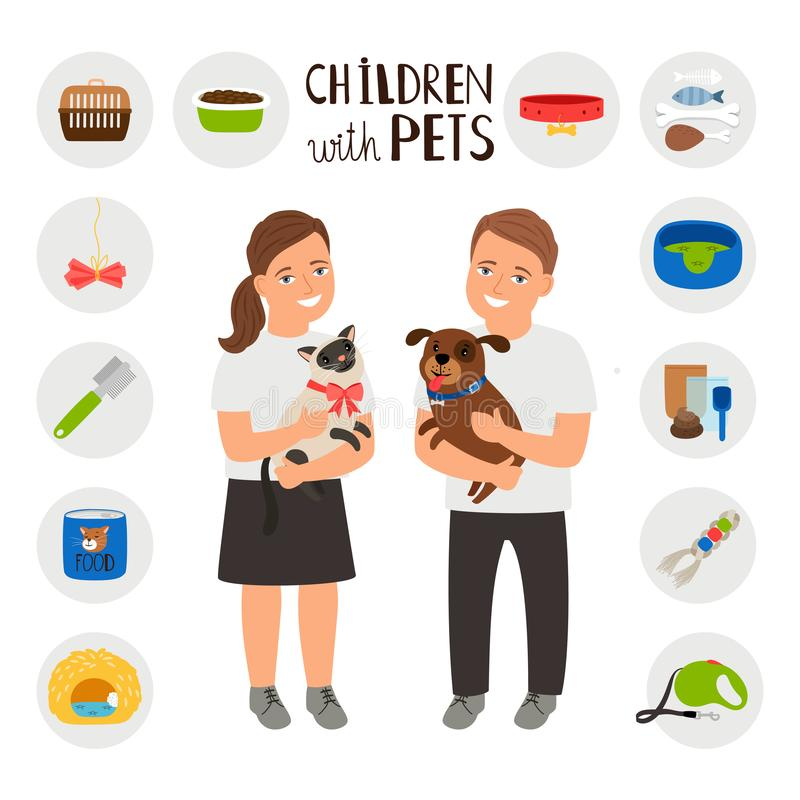 Enfants garçon et fille avec des animaux familiers chat et chien illustration stock