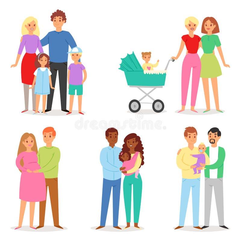 Enfants garçon et fille d'homme de femme de caractère de personnes de vecteur de famille ensemble dans l'ensemble d'illustration  illustration libre de droits