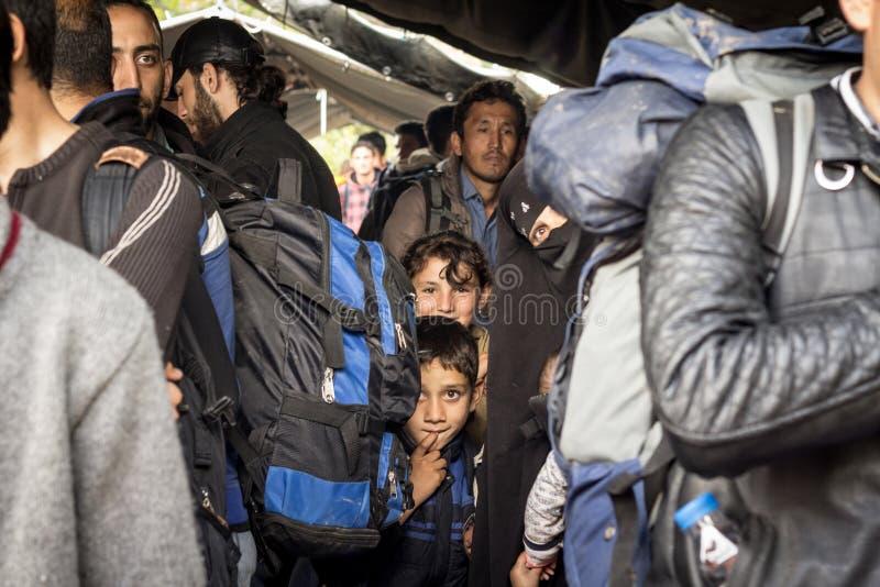 Enfants, garçons et filles de réfugié attendant pour franchir la frontière de la Croatie Serbie, sur la Route des Balkans photos stock