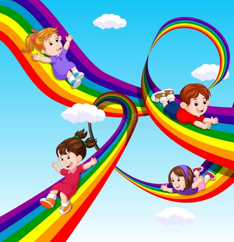 Enfants glissant sur l'arc-en-ciel en ciel illustration de vecteur