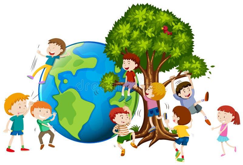 Enfants grimpant à l'arbre illustration de vecteur
