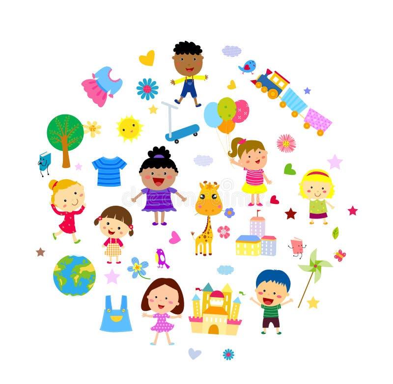 Enfants heureux illustration de vecteur