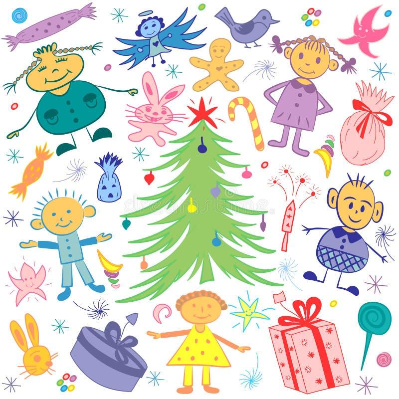 Enfants heureux autour d'arbre de sapin avec des cadeaux et des sucreries Dessins drôles colorés du ` s d'enfants des symboles de illustration stock
