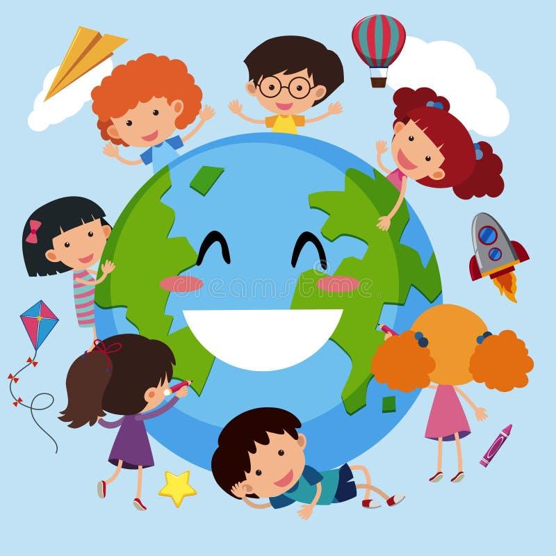 Enfants heureux autour du monde illustration de vecteur