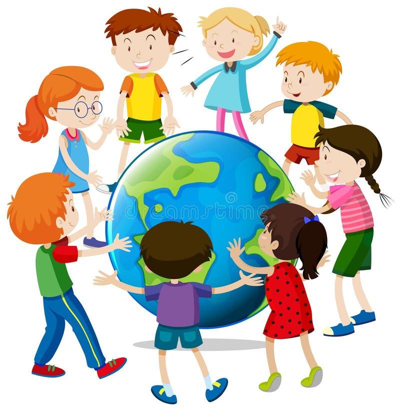 Enfants heureux autour du monde illustration stock