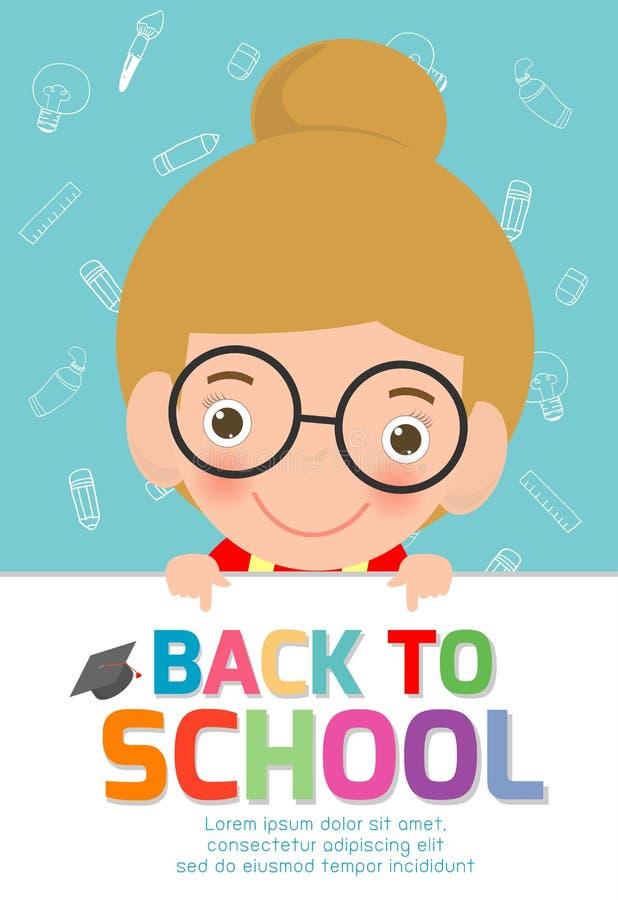 Enfants heureux avec le grand panneau de signe De nouveau au fond de bannière d'école Enfants mignons d'école concept d'éducation illustration de vecteur