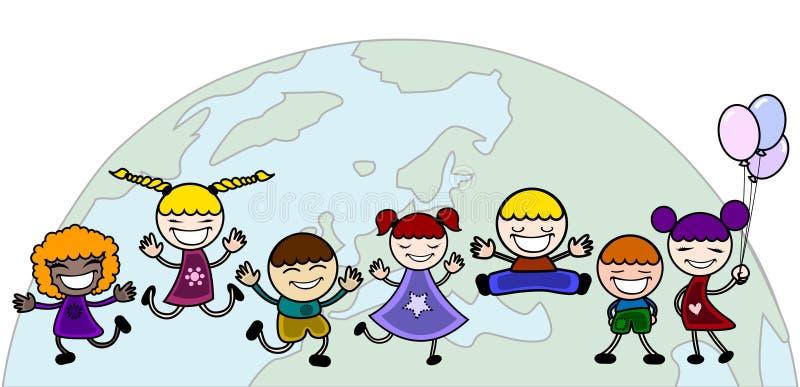 Enfants heureux avec le monde illustration stock