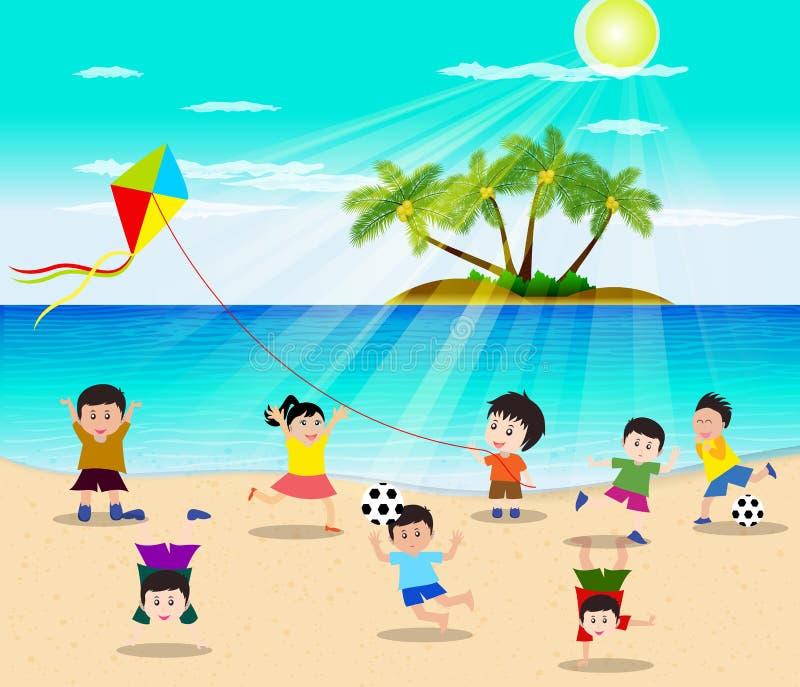 Enfants heureux ayant l'amusement sur l'illustration de vecteur de plage illustration de vecteur