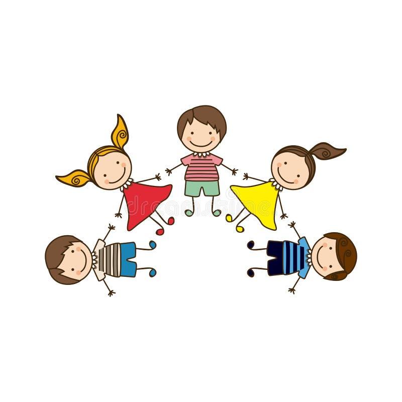enfants heureux colorés de bande dessinée d'ensemble tenant des mains illustration libre de droits